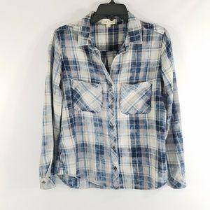 Cloth & Stone Blue Plaid Flannel Shirt